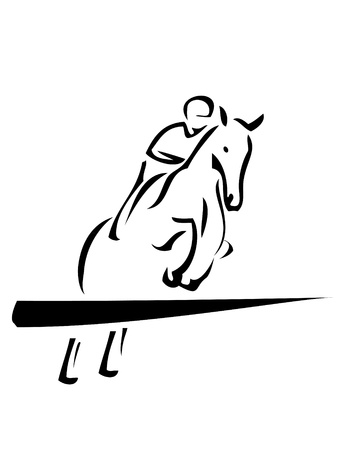 salto de valla: El logotipo del deporte ecuestre Vectores