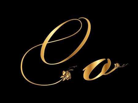 letras doradas: Oro letra o