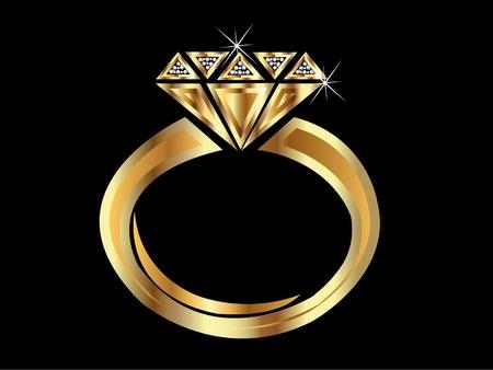 Golden diamond engagement ring  Stock Vector - 10599243