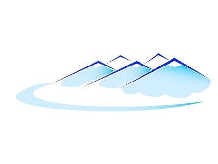 prato montagna: Montagne logo Vettoriali