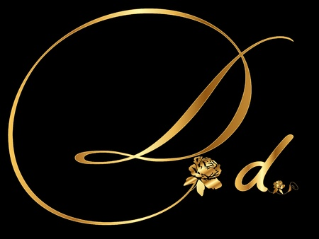 d: Gold letter D