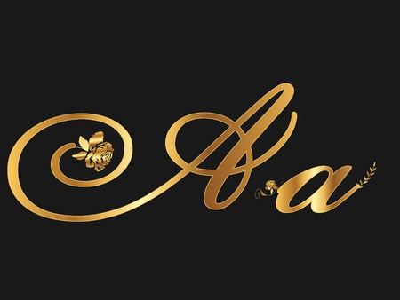 gold letters: Gold letter A