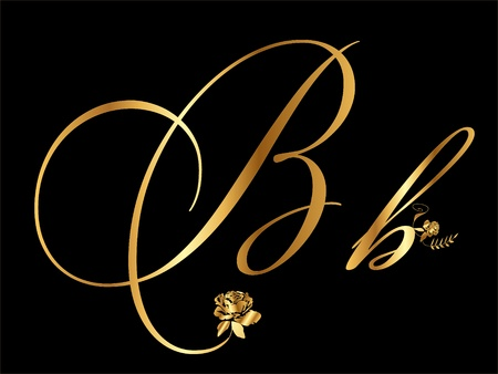 flower font: Gold letter B Illustration