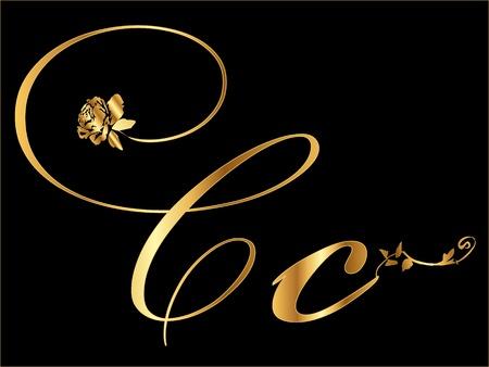 letter c: Gold letter C
