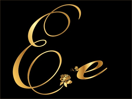 gold letters: Gold letter E