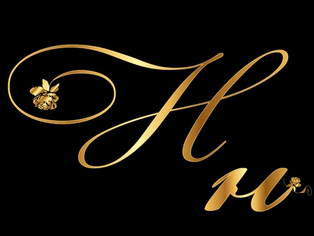 gold letters: Oro letra H