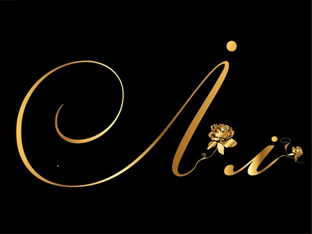 type lettering: Gold letter I Illustration