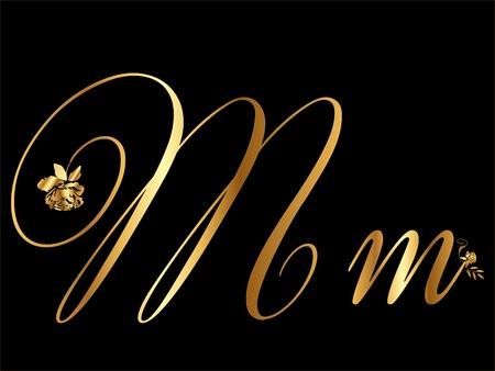 flower font: Gold letter M