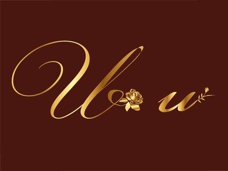 Gold letter U Vector