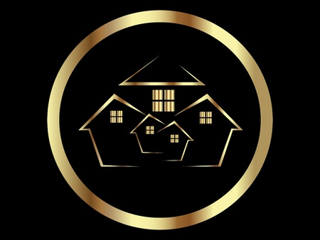real estate icons: Houses gold icon or Real Estate