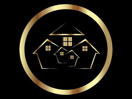 Icono de casas oro o bienes raíces