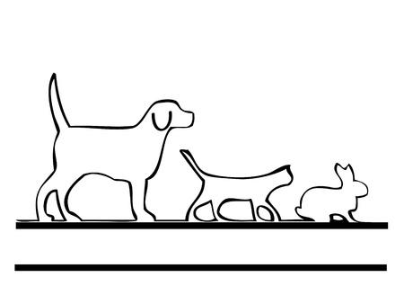 Kat Hond en Konijn Stock Illustratie