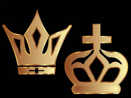 Two golden crowns  Vector