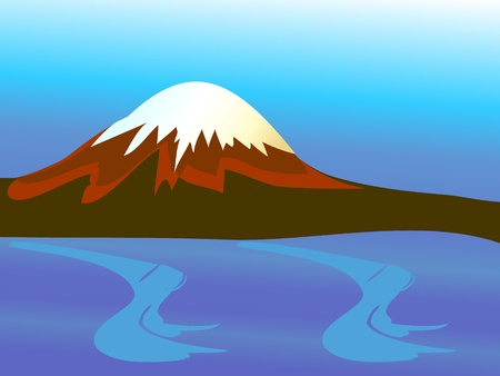 Mountain with peak and blue ocean Vector