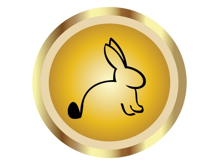 rabbit silhouette: Rabbit in gold icon  Illustration