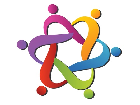 сообщество: Команда помогает логотипом Иллюстрация
