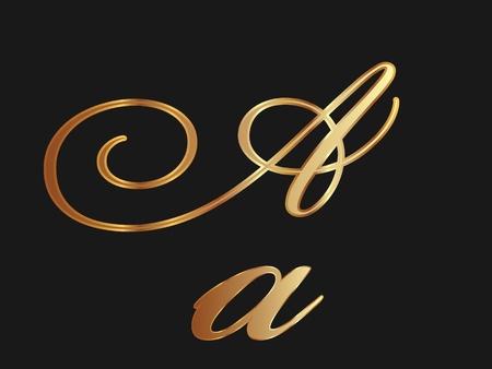 letras doradas: Oro letra A