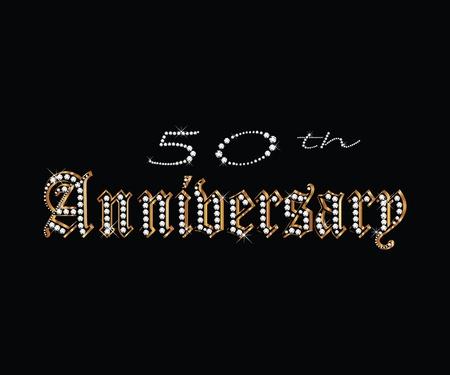 50 th Anniversary with diamonds Vector