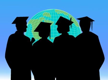 college graduation: Graduates on the World  Illustration