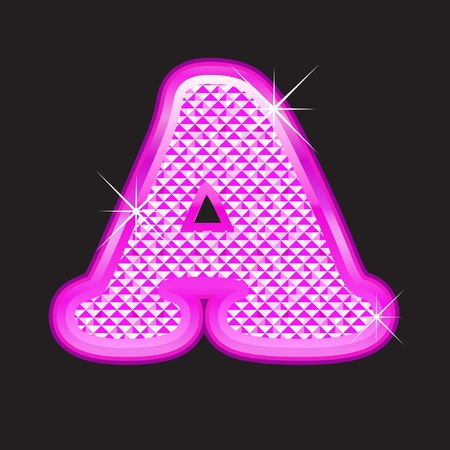 A letter pink bling girly Vector