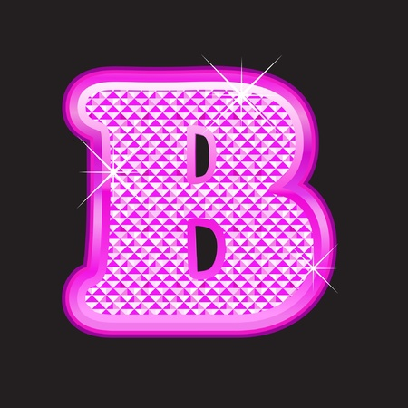 diamond letters: B letter pink bling girly