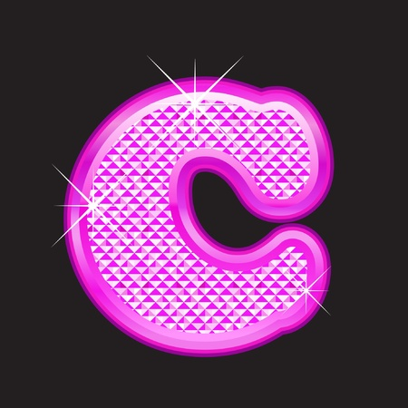 C letter pink bling girly Vector
