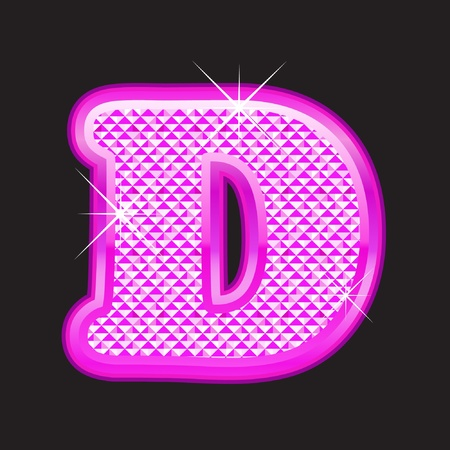 diamond stones: D letter pink bling girly Illustration