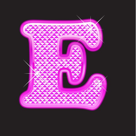 E letter pink bling girly