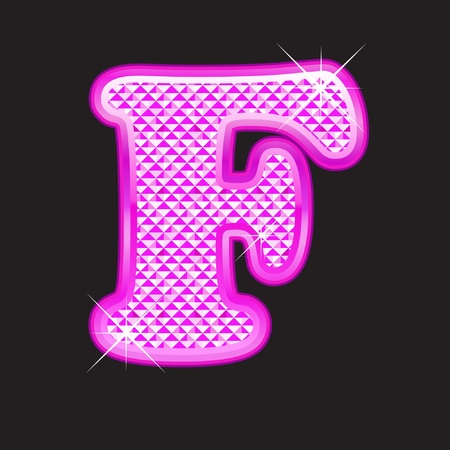 diamond stones: F letter pink bling girly