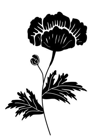 passion flower: Black Flower Design