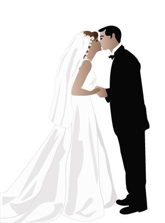 Wedding of  broom and bride Vector