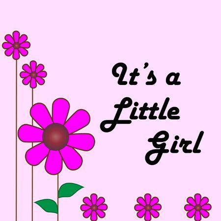 여자 아기의 카드 일러스트