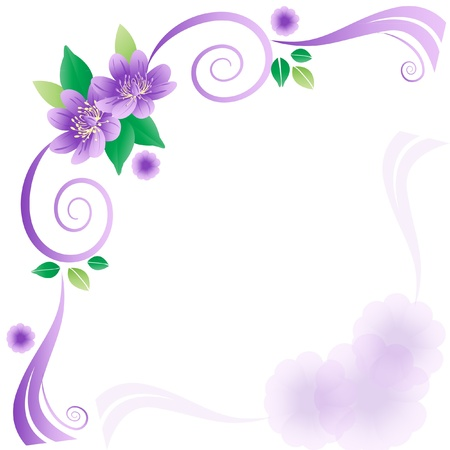 free border: Wedding card with lavender flowers