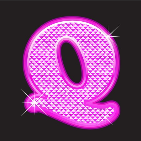 Q letter pink bling girly Vector