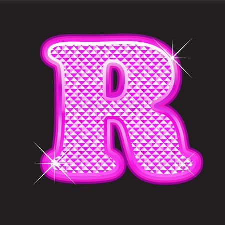 diamond stones: R letter pink bling girly Illustration