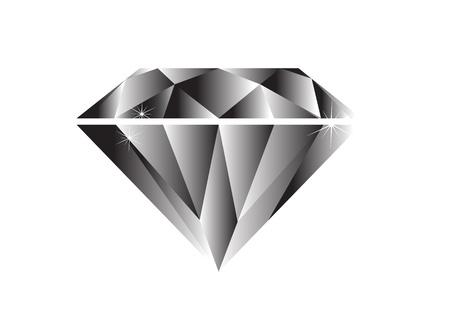 귀한: 다이아몬드 검은 색과 흰색 일러스트