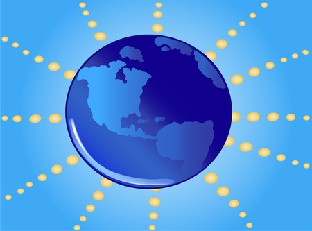 World with rays Vector