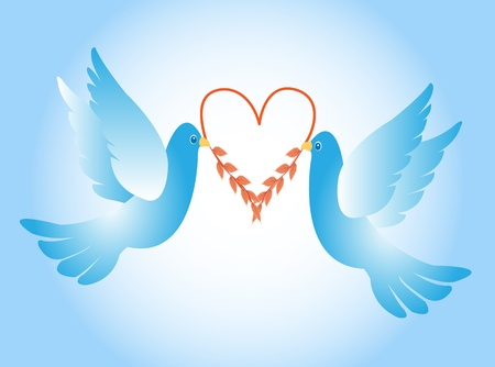Doves with heart
