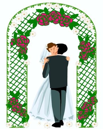 Wedding kiss groom and bride Vector