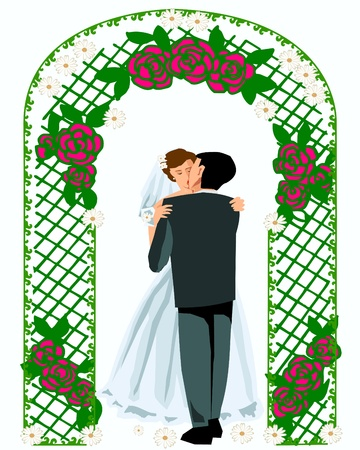 Wedding kiss groom and bride Vector
