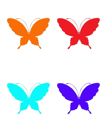 butterfly isolated: Set of butterflies