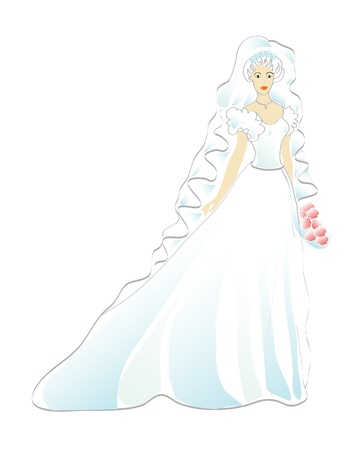 wedding dress: Bride with bouquet of roses
