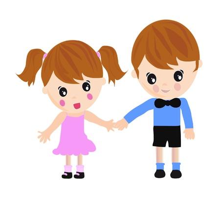 Kids taking hands Vettoriali