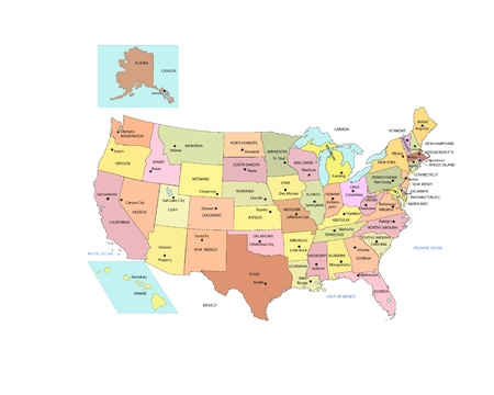 west usa: USA Map with states names and capitals