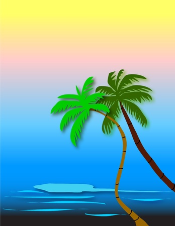 Beaches palm trees Vector