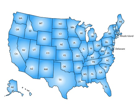 map of the united states: USA Map blue
