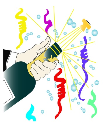 party streamers: A bottle of champagne is opening with happiness