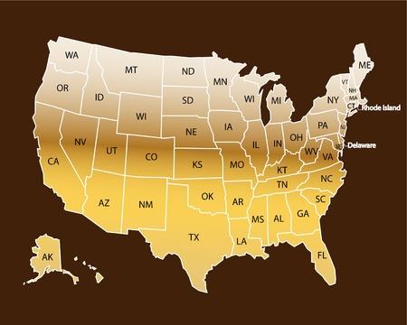 norte: Estados Unidos mapa oro Vectores