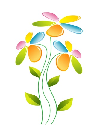 stalk flowers: Flower with glass  colors  Illustration