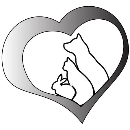 silueta de gato: Animales domésticos y el corazón (gatos, perros y conejos)